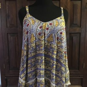 Lucky BRAND floral tank with crochet trim